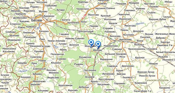 Миново и Манаенки (Тульская обл.) на Яндекс-карте